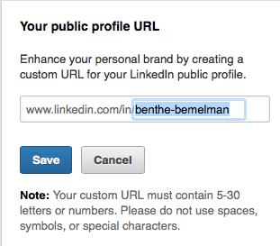 LinkedIn URL aanpassen stap 4
