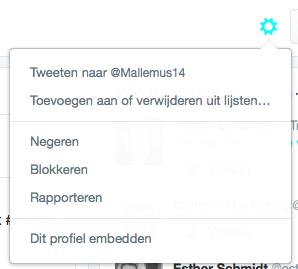 Om Twitter Spambots te verwijderen klik je op het tandwieltje naast de 'volgknop'.