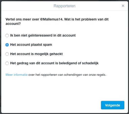 """Om de Twitter Spambot te verwijderen klik je eerst op """"Rapporteren"""" en kies vervolgens voor """"Het account plaatst spam"""""""