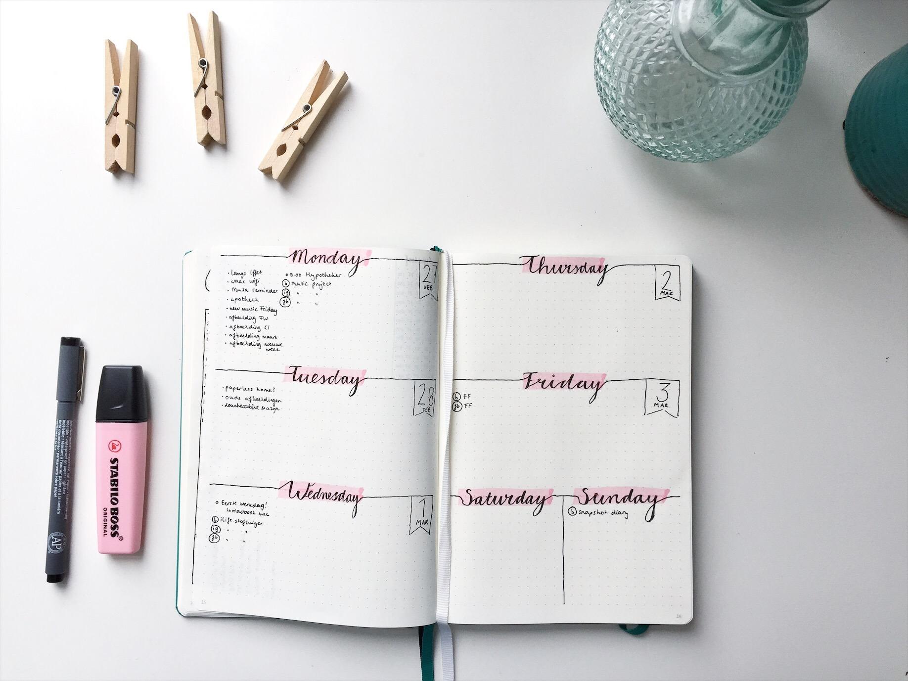 Bullet journaling weekoverzicht | BentheBemelman.com