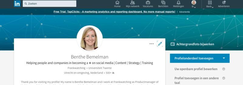 LinkedIn omslagfoto | BentheBemelman.com